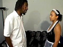 Alluring ebony gets intense nailing