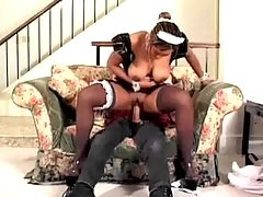 Little black mom fucks without a break